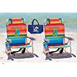 2 Tommy Bahama Backpack Beach Chairs (Multicolor Stripes + Multicolor Stripes) + 1 Medium Tote Bag