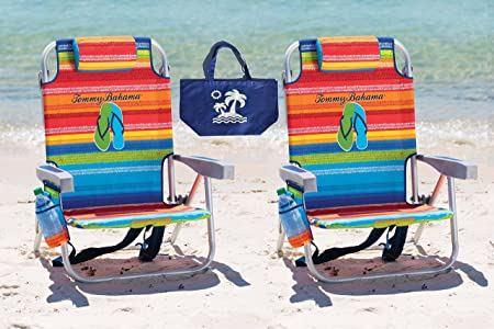 2 Tommy Bahama Backpack Beach Chairs Multicolor Stripes Multicolor Stripes 1 Medium Tote Bag