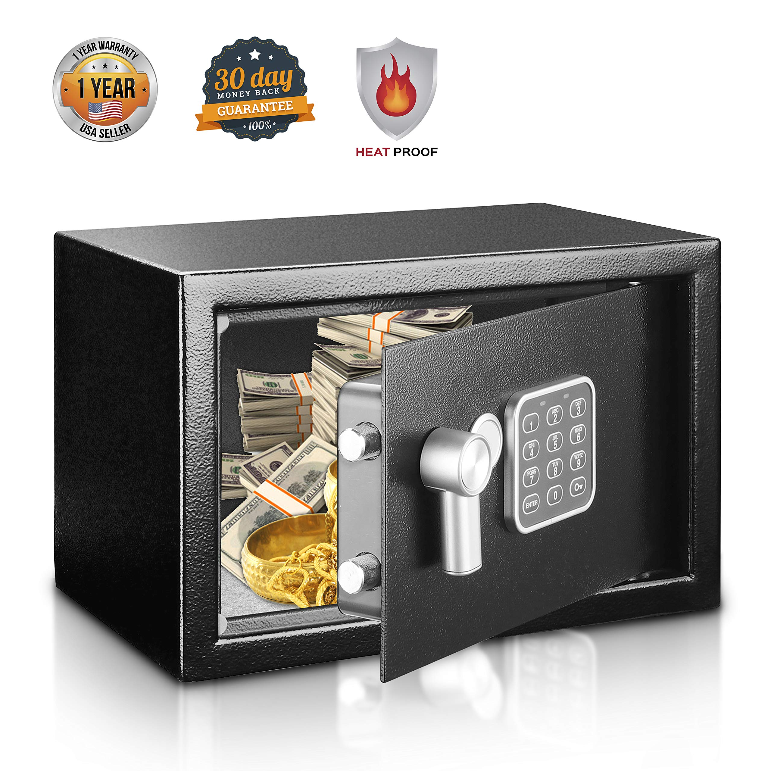 Safe and Lock Box - Safe Box, Safes And Lock Boxes, Money Box, Safety Boxes for Home, Digital Safe Box, Steel Alloy Drop Safe, Includes Keys- SereneLife SLSFE14 by SereneLife