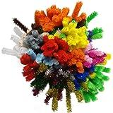 Bastelbär Pfeifenreiniger - 200 Pfeifenputzer - Chenilledraht inkl. 5 Glitzerfarben