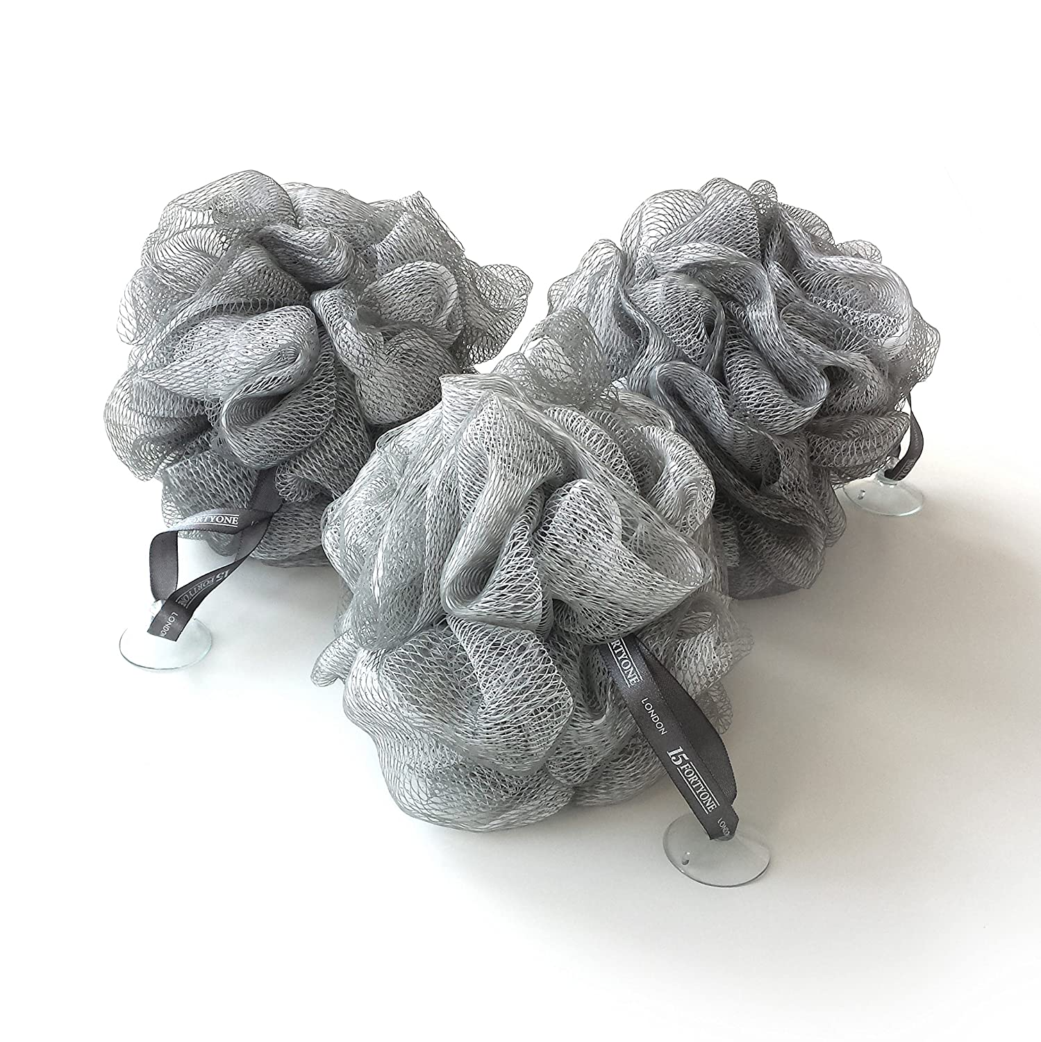 1541 London Exfoliating Bath & Shower Body Puff / Scrunchie / Buffer (Silver Grey) 3 pack