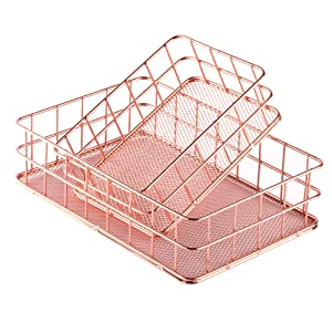 Rose Gold Office Supplies Drawer Makeup Organizer Trays Set of 2, Metal Baskets with Mesh Bottom