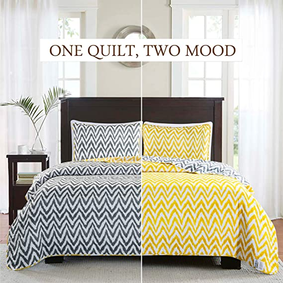 Sophia and William Quilt Set Twin Bedspread Yellow Coverlet Set - Lightweight, Reversible, Hypoallergenic