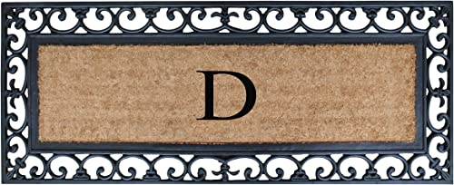 A1 HOME COLLECTIONS First Impression Exclusive Hand Crafted Myla Monogrammed Entry Doormat, Large Double Door Size 17.7 x 47.25