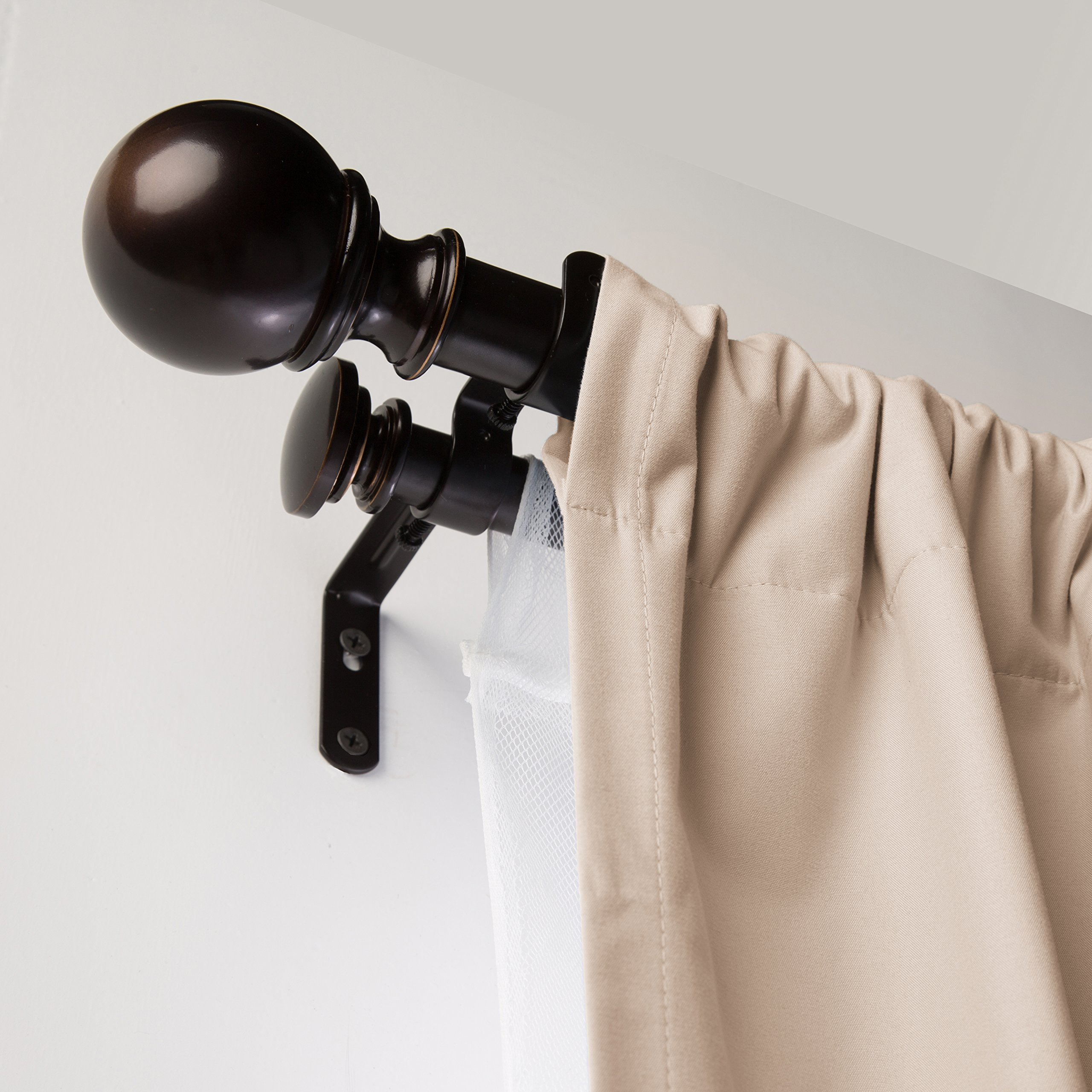 "AmazonBasics 1"" Double Extendable Curtain Rods With Round"