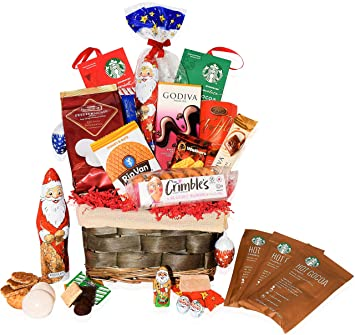 Christmas Gift Baskets For Him.Christmas Gift Baskets Godiva Starbucks Macaroons Chocolate Santa Lindt Walkers Holiday