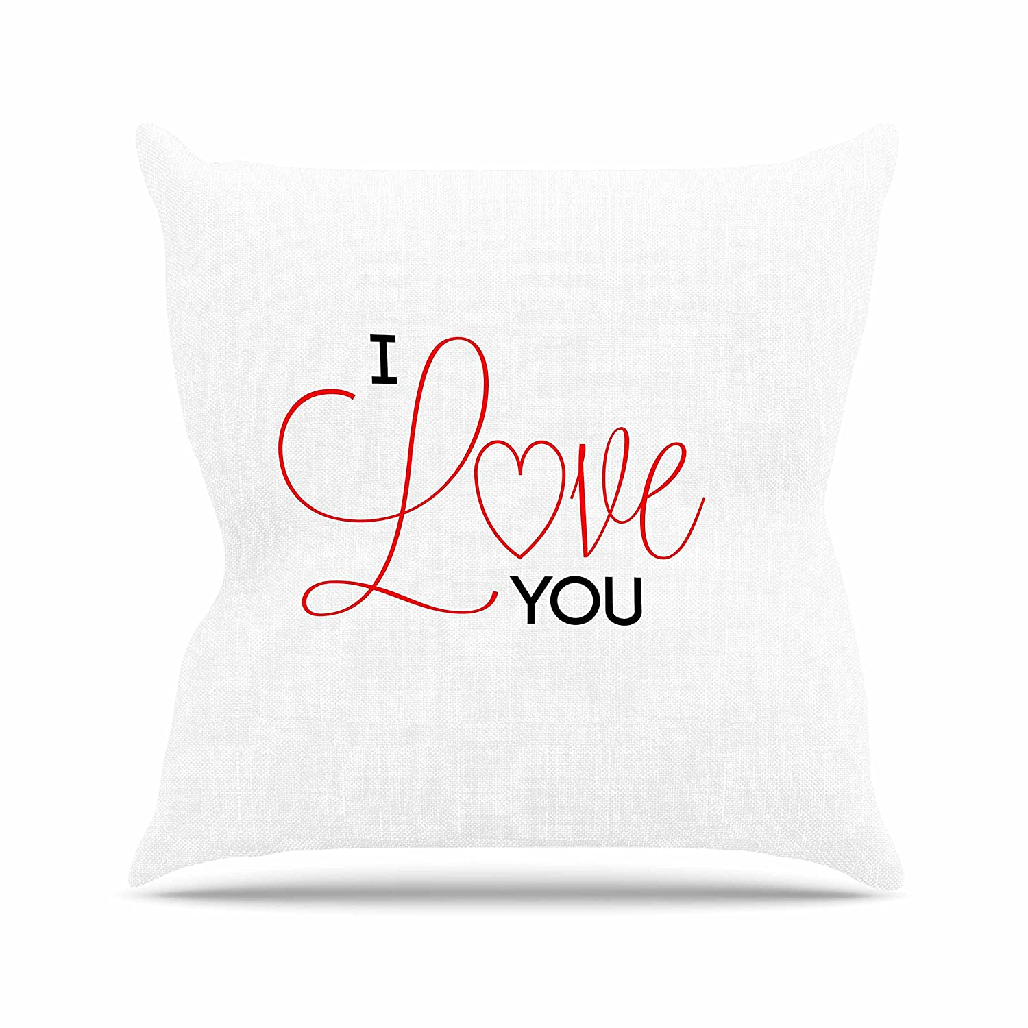 Kess InHouse NL Designs I Love You White Red Throw Pillow 18 by 18