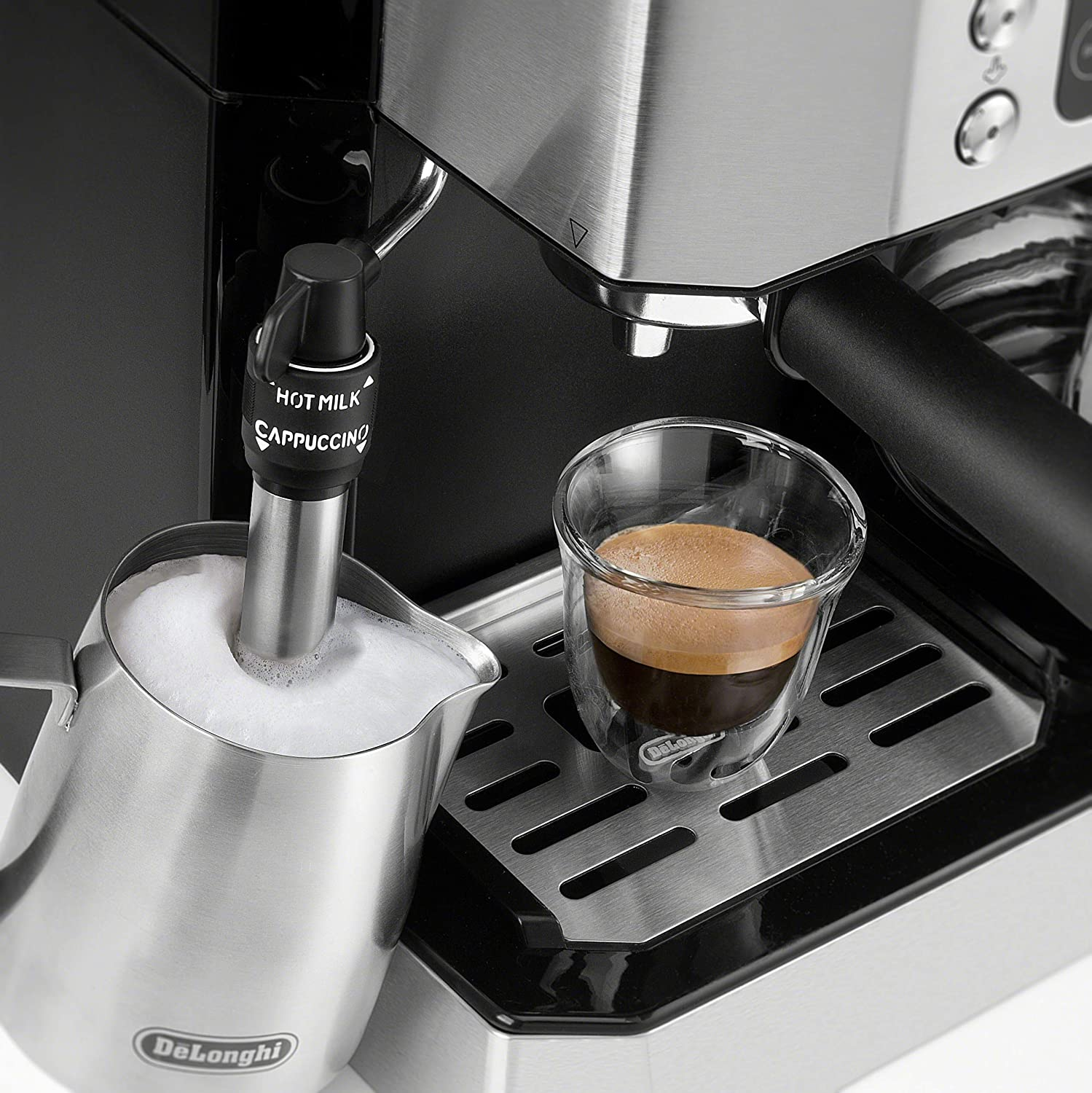 De'Longhi All-in-One Combination Coffee Maker & Espresso Machine + Advanced Adjustable Milk Frother for Cappuccino & Latte + Glass Coffee Pot 10-Cup