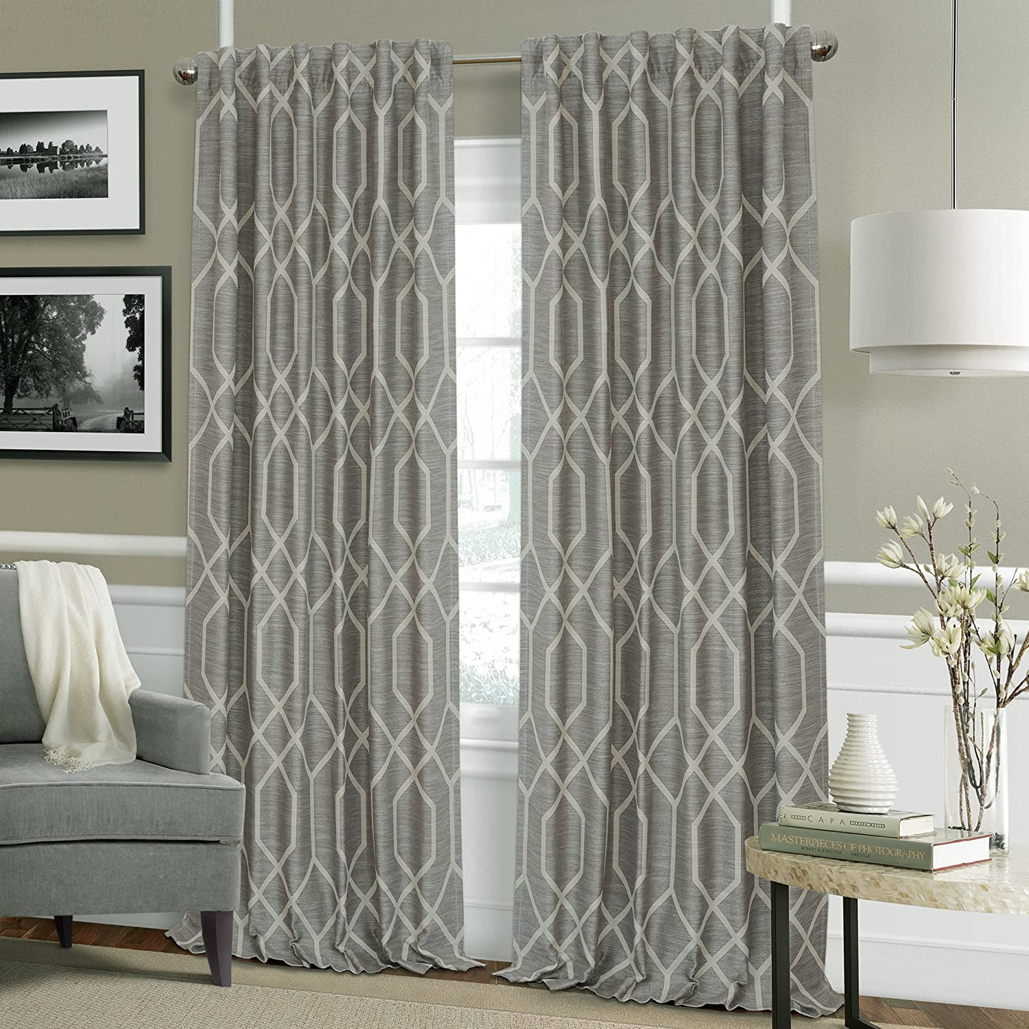 Gray 52 X 84 Elrene Home Fashions 22795gry Devin Single Blackout Window Curtain Panel