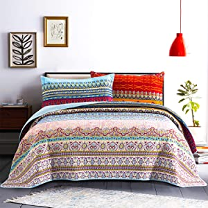 """Honova Boho Quilt Set, Retro Striped Pattern Printed Quilted Coverlet Bedspreads Twin Size 68""""x86"""" - Lightweight Design for All-Season"""
