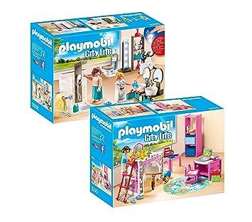 PLAYMOBIL Modernes Wohnhaus Möbelset: 9268 Badezimmer & 9270 ...