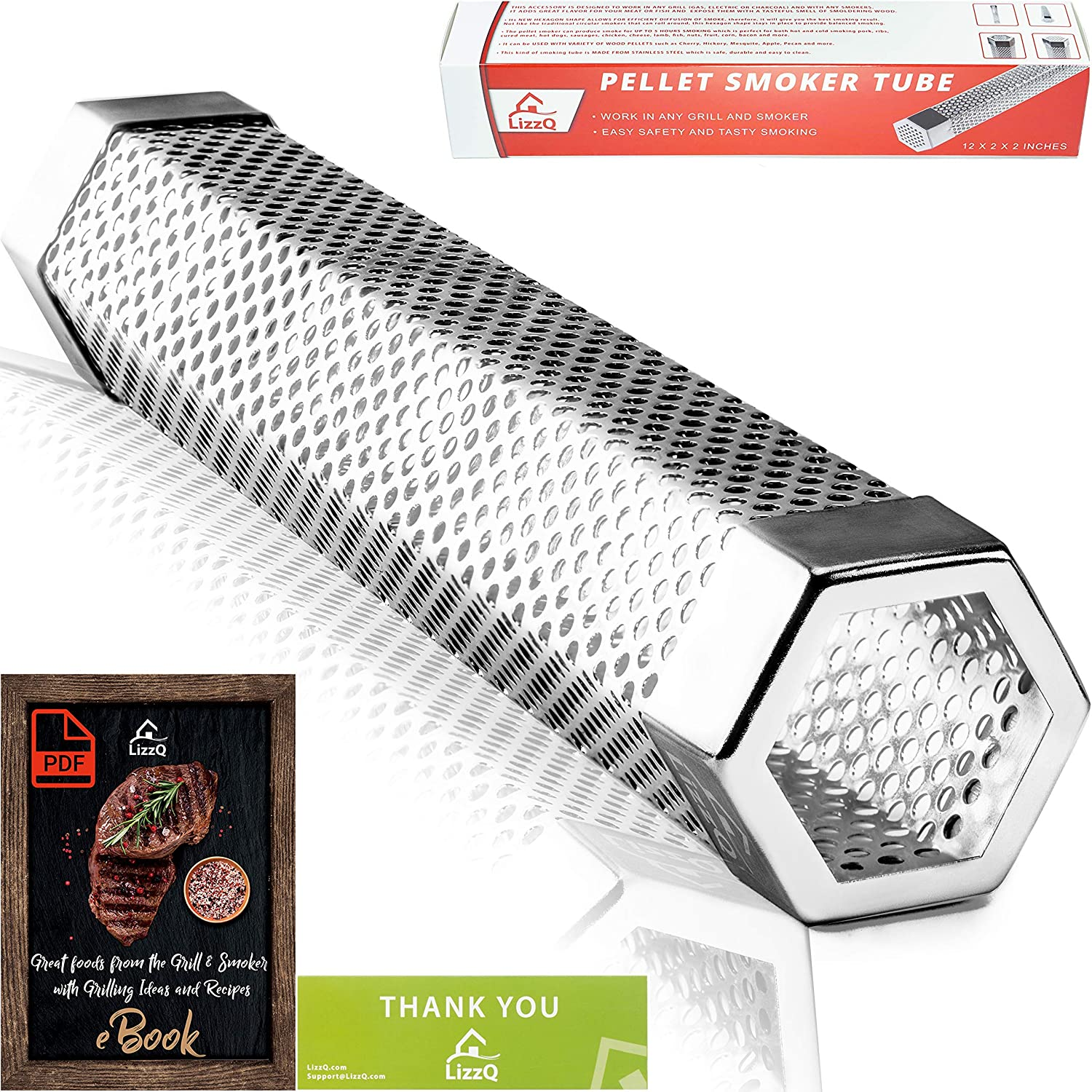 LIZZQ Premium Pellet Smoker Tube 12 inches - 5 Hours of Billowing Smoke - for Any Grill or Smoker, Hot or Cold Smoking - Easy, Safety and Tasty ...