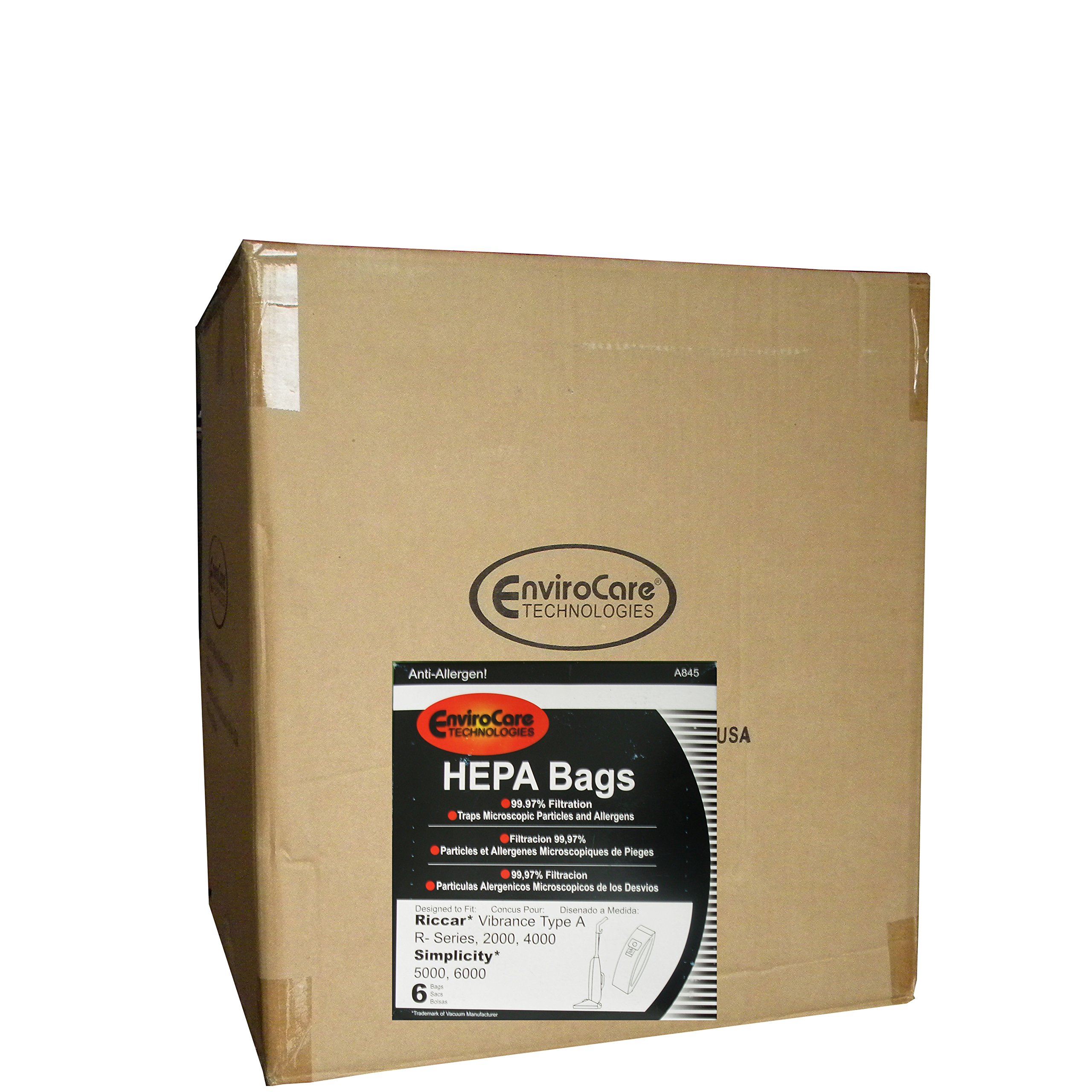 72 Riccar Vibrance Simplicity 5000, 6000 Type a Hepa Bags, Commercial, Canister Vacuum Cleaners, S6-3, S6-12, C13-6, C13H-6, 52-2402-07, R500, R600, R700, R800 R800C, R100, R200, R300, R300C 2000, 4000, 6100, 6370, 6400, 6550, 6570