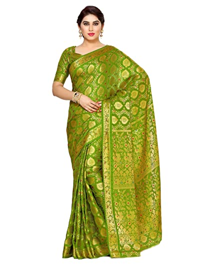 0035ef8d52 Mimosa Women's Silk Saree With Blouse Piece (4123-65-Sd-Olv_Olive): Amazon. in: Clothing & Accessories