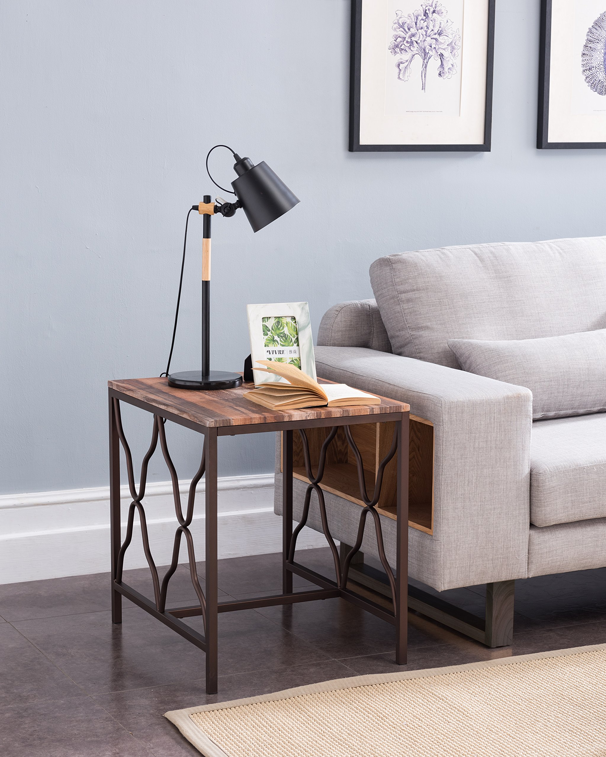 """Weathered Oak Top Metal Frame Scroll Chair Side End Table 24"""" H - Color: Weathered Oak and Dark Brown Material: Metal, MDF/Hardwood Features large surface top and scroll designs on the sides - living-room-furniture, living-room, end-tables - 91n5lCmp9qL -"""
