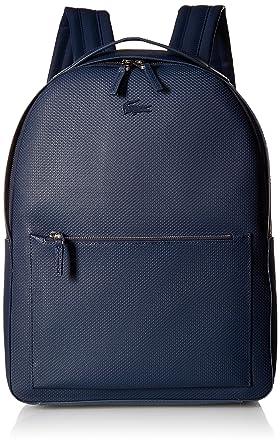 a78a0e50641 Amazon.com: Lacoste Men's Chantaco Leather Backpack with Tonal Croc,  peacoat 00: Clothing
