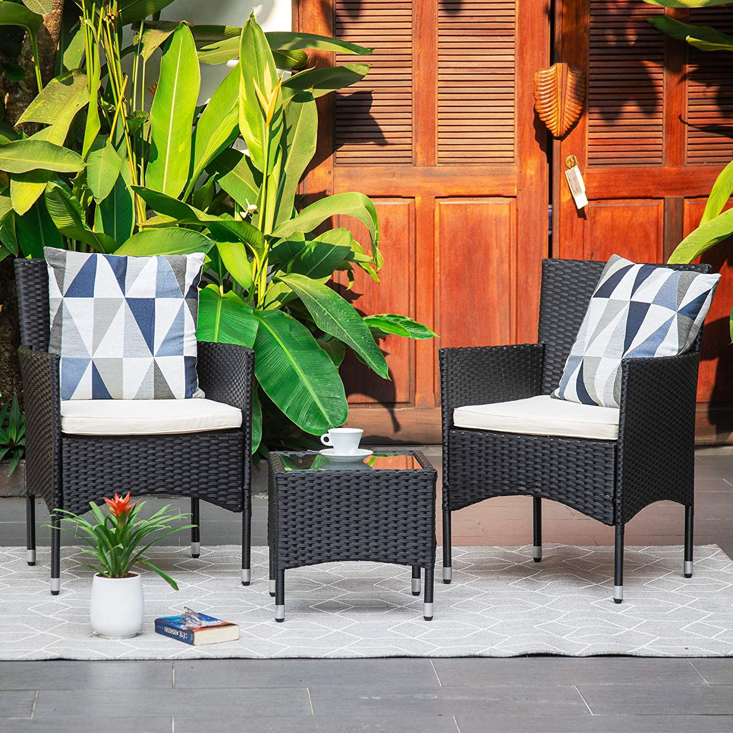 M&W 3 Pieces Patio Furniture Set, Outdoor Chairs and Coffee Table, PE Rattan Wicker Bistro Table Set for Balcony, Lawn, Garden, Backyard, Beige (Throw Pillow NOT Included)