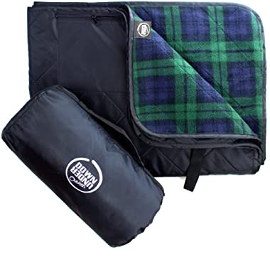 DOWN UNDER OUTDOORS Premium Large Waterproof, Windproof, Quilted Fleece Stadium Blanket, Machine Washable, Camping, Picnic & Outdoor, Beach, Dog, 82 x 55 (red/Blue/Green) Festival, Baseball, Folding