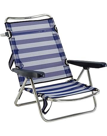 Alco 607ALF-0056 - Silla playa aluminio fibreline, con asa, Azul/Blanco