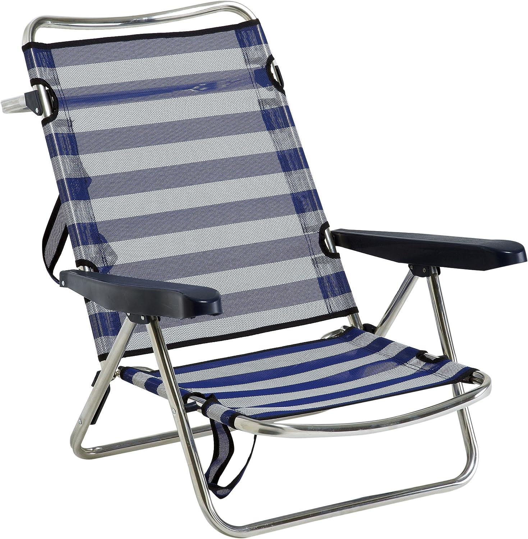 Alco 607ALF-0056 - Silla playa aluminio fibreline, con asa, Azul ...