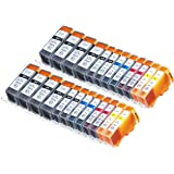 Zulu Inks® Compatible Ink Cartridge Replacement for PIXMA 24 Pack CLI-226 , PGI-225 8 Big Black, 4 Small Black, 4 Cyan, 4 Magenta, 4 Yellow for PIXMA iP4820, PIXMA iP4920, PIXMA iX6520, PIXMA MG5120, PIXMA MG5220, PIXMA MG5320, PIXMA MG6120, PIXMA MG6220, PIXMA MG8120, PIXMA MG8120B, PIXMA MG8220, PIXMA MX712, PIXMA MX882, PIXMA MX892. Ink Cartridges for inkjet printers. CLI-526BK , CLI-526C , CLI-526M , CLI-526Y , PGI-525BK © Zulu Inks