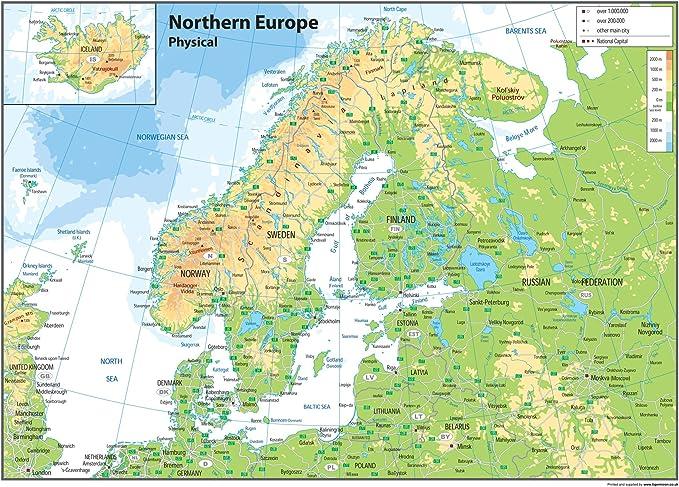 Cartina Geografica Nord Europa.Europa Del Nord Mappa Fisica Carta Plastificata Ga A1 Amazon It Cancelleria E Prodotti Per Ufficio