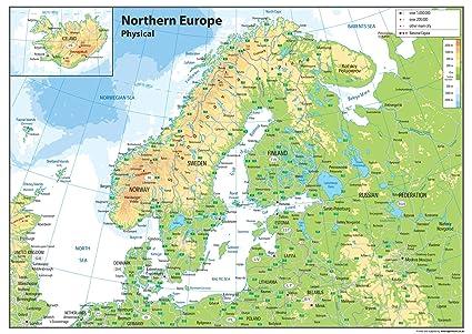 Immagini Cartina Fisica Europa.Europa Del Nord Mappa Fisica Carta Plastificata Ga A1