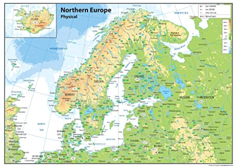 Northern Europe Physical Map - Paper Laminated - A0 Size ...