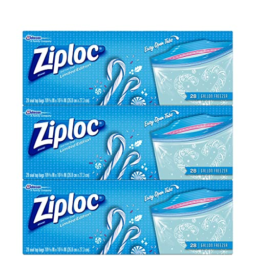 3-Pk Ziploc Limited Edition Holiday Freezer Bags, Gallon