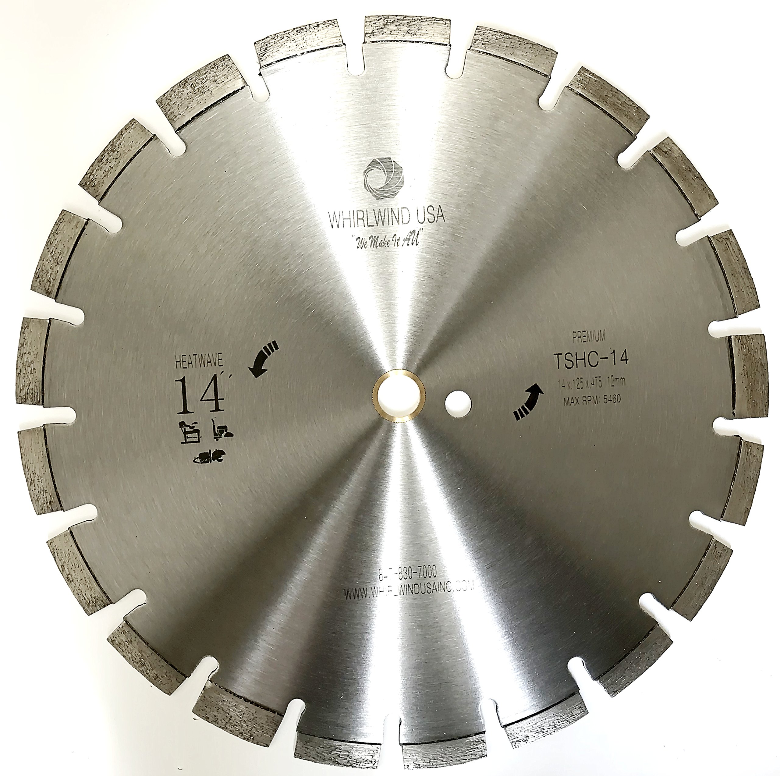 Whirlwind USA 14 inch Heatwave Dry Concrete Cutting Laser Welded Segmented Diamond Saw Blades (14'') by WHIRLWIND USA