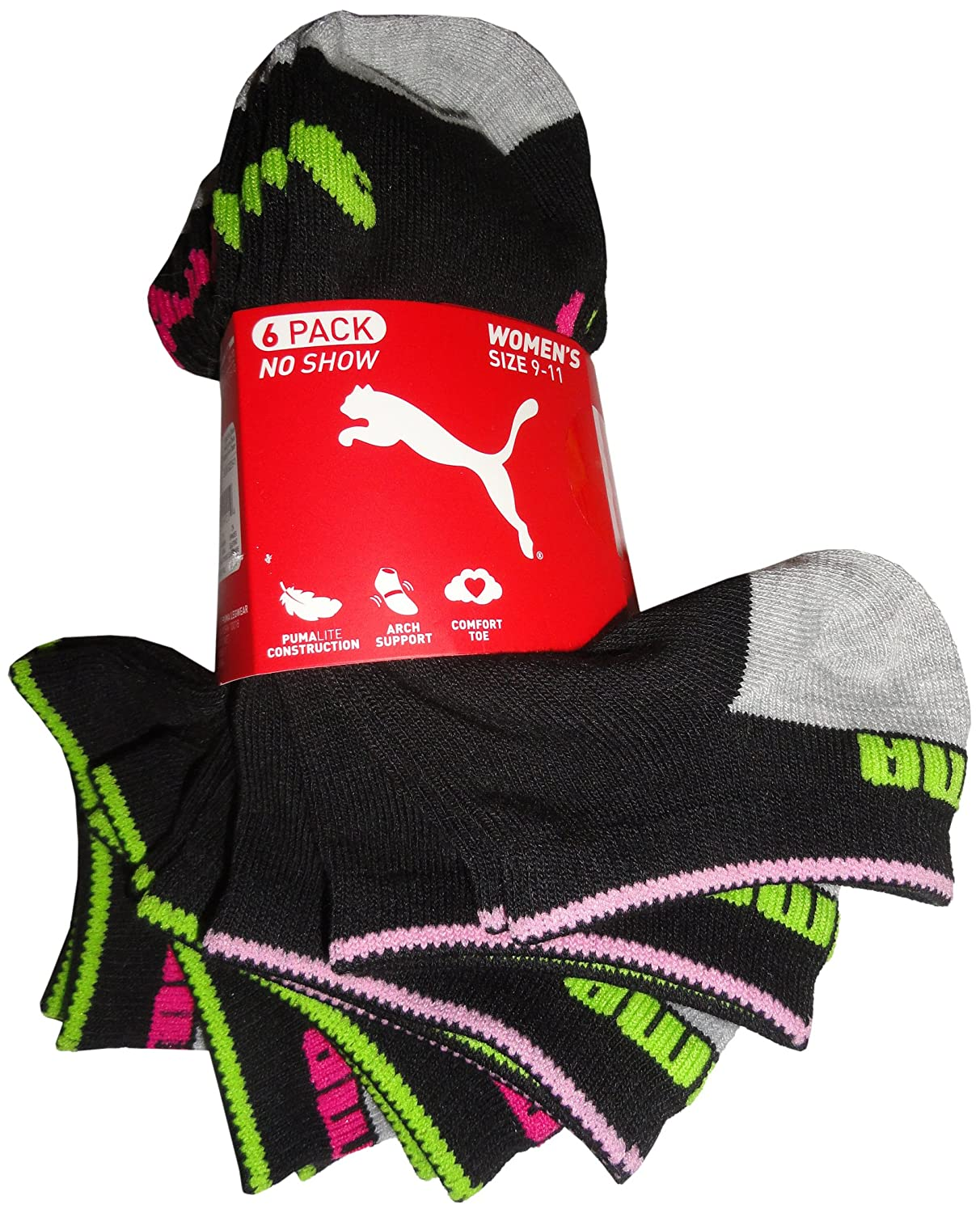 6 Pair Puma Women's Athletic Socks No Show