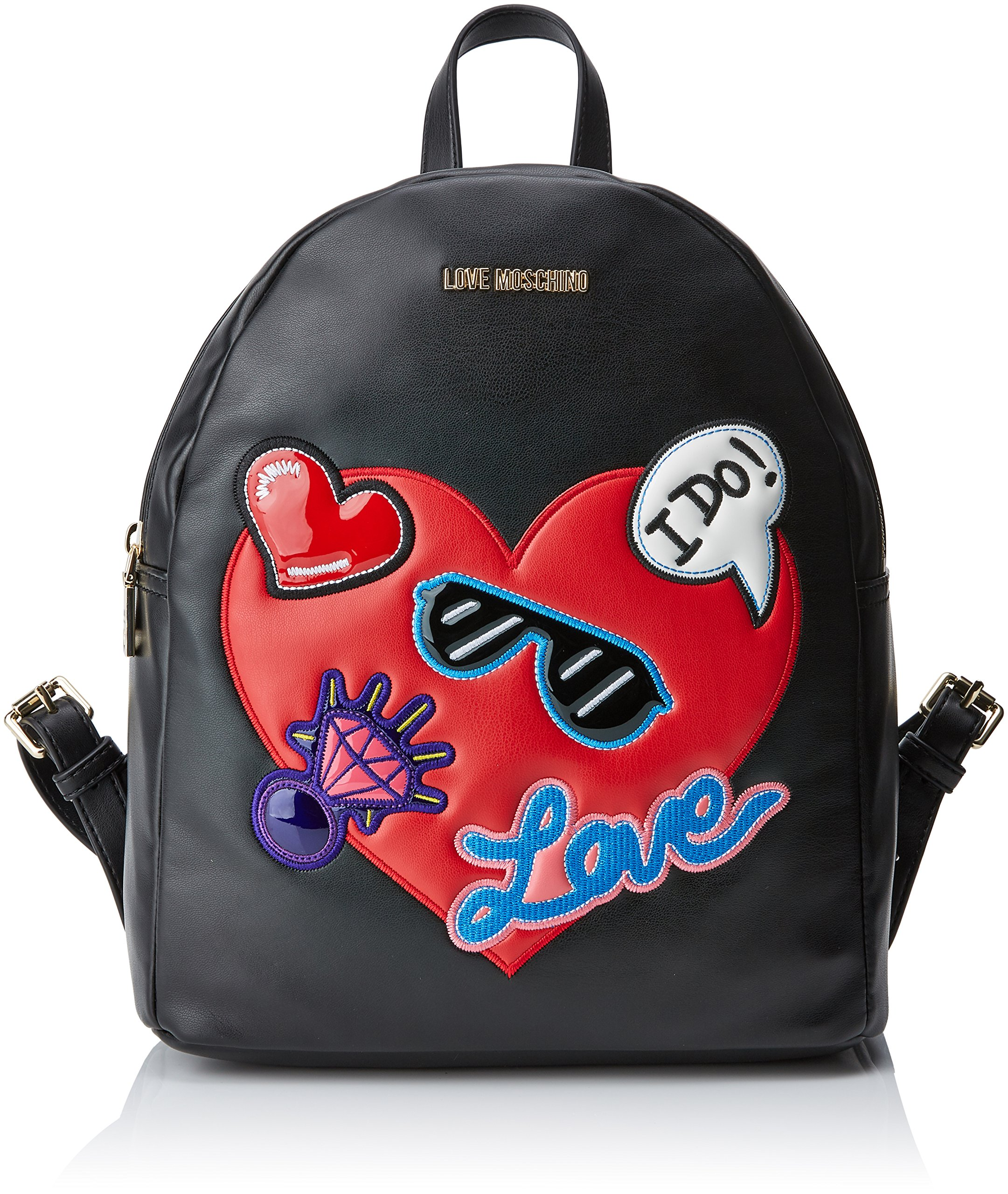LOVE Moschino Women's Patches Backpack Black One Size