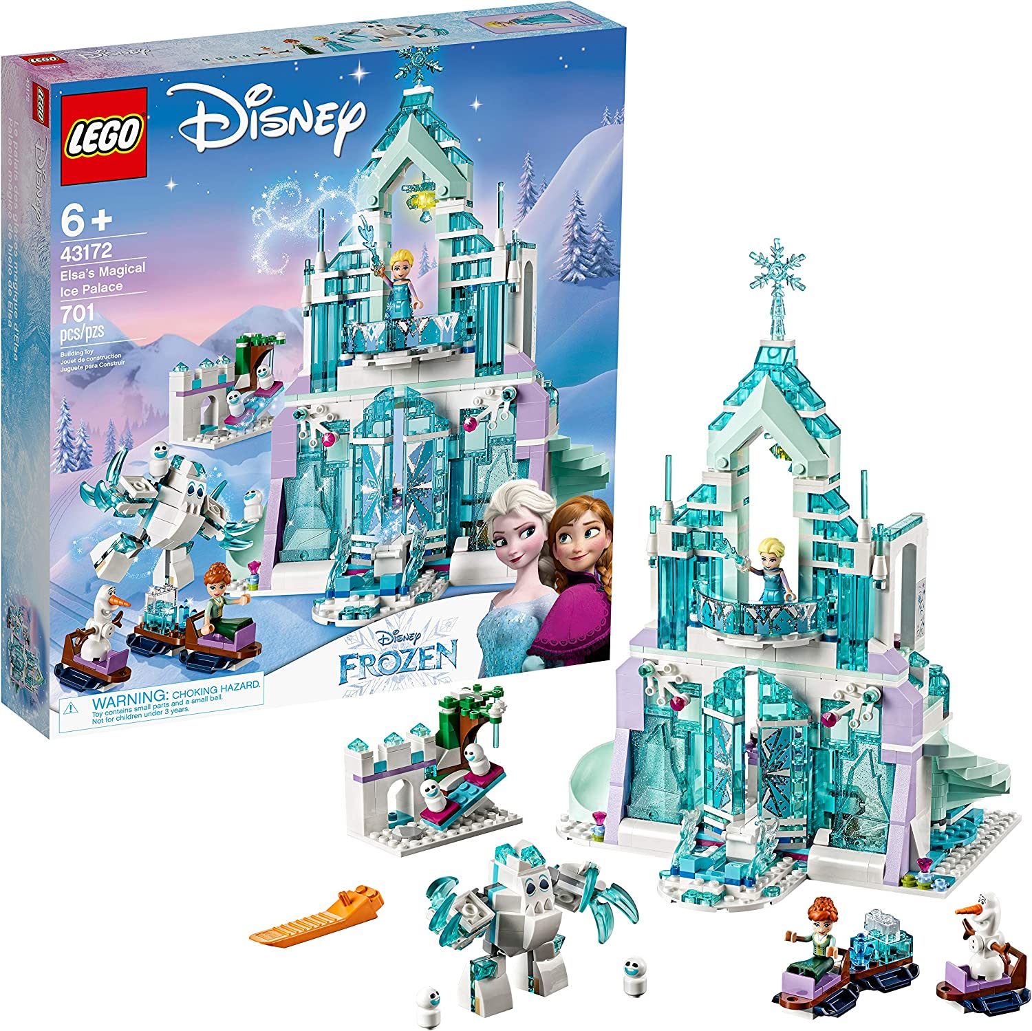 Olaf LEGO Disney Princess Elsas Magical Ice Palace 43172 Toy Castle Building Kit with Mini Dolls Castle Playset with Popular Frozen Characters Including Elsa 701 Pieces Anna and More