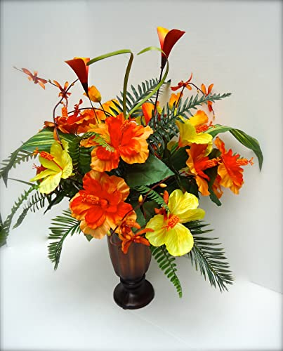 Amazoncom Tropical Hibiscus And Fern Floral Arrangement Handmade