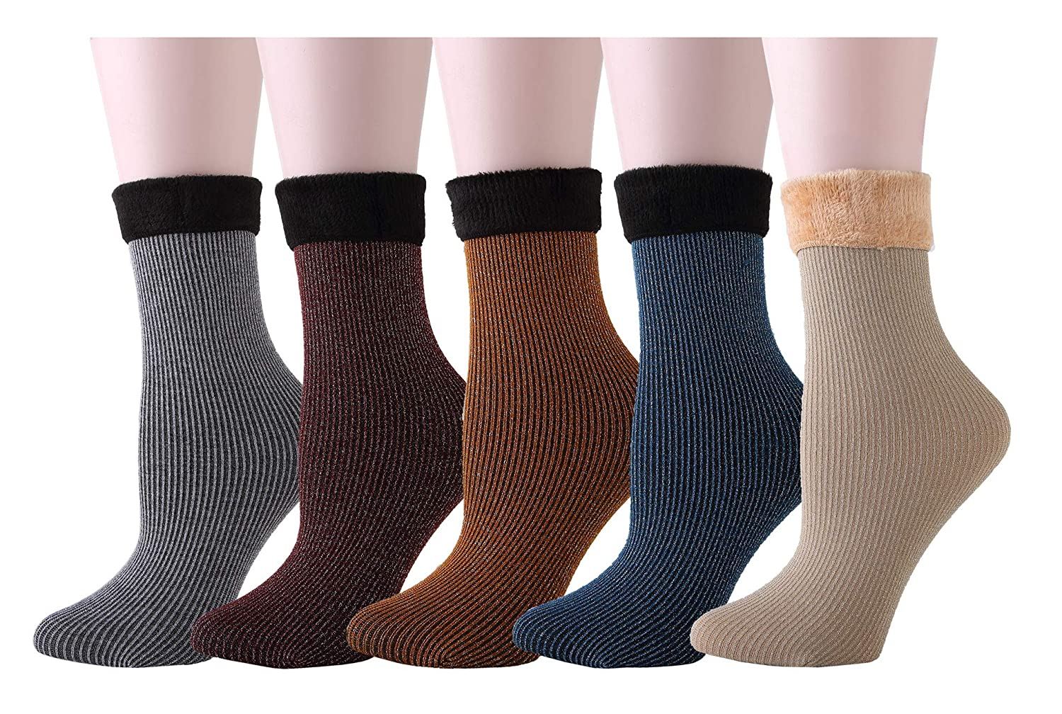 4886aa7f1a38e Women 4 Pairs Super Thick Fleece Lined Warm Socks Non-Slip Knitted Ankle  Slipper Socks (Women-2 (4 Pairs)): Amazon.co.uk: Clothing