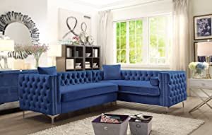 Iconic Home FSA2848-AN Mozart Right Hand Facing Sectional Sofa L Shape Velvet Button Tufted with Silver Nail Head Trim Silvertone Metal Y-Leg with 3 Accent Pillows Modern Contemporary Navy