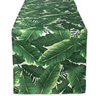 """DII 100% Polyester Table Runner, Spilll Proof and Waterproof for Outdoor or Indoor Use, Machine Washable, (14x72"""") Banana Leaf"""