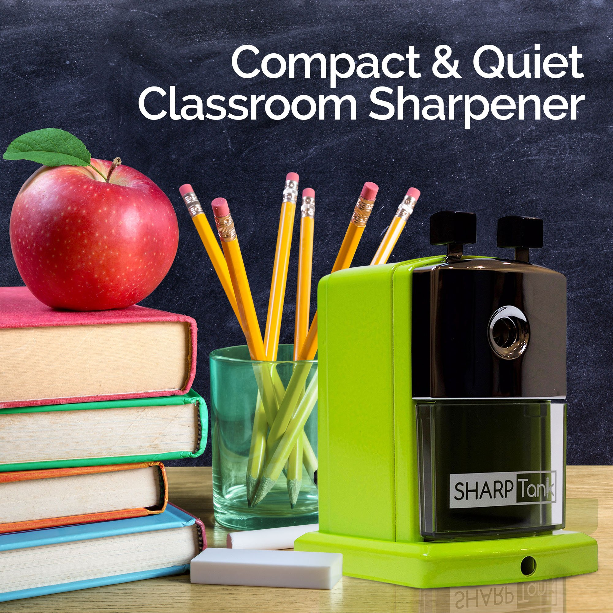 SharpTank - Portable Pencil Sharpener (Key Lime Green) - Compact & Quiet Classroom Sharpener That Gets Straight to The Point! by SHARP TANK (Image #5)