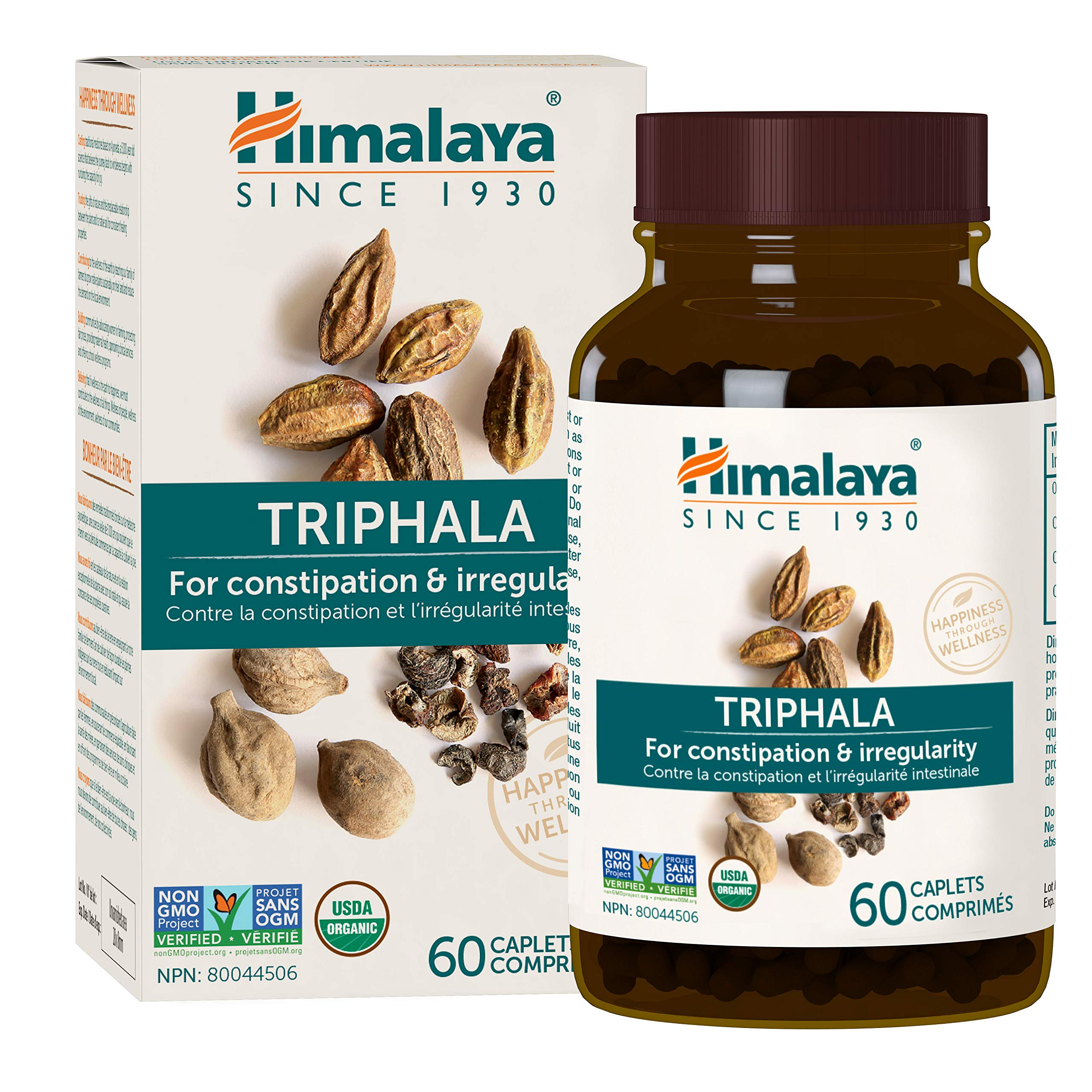 Himalaya Organic Triphala, Colon Cleanse & Digestive Supplement for Occasional Constipation, 688 mg, 60 Caplets, 2 Month Supply