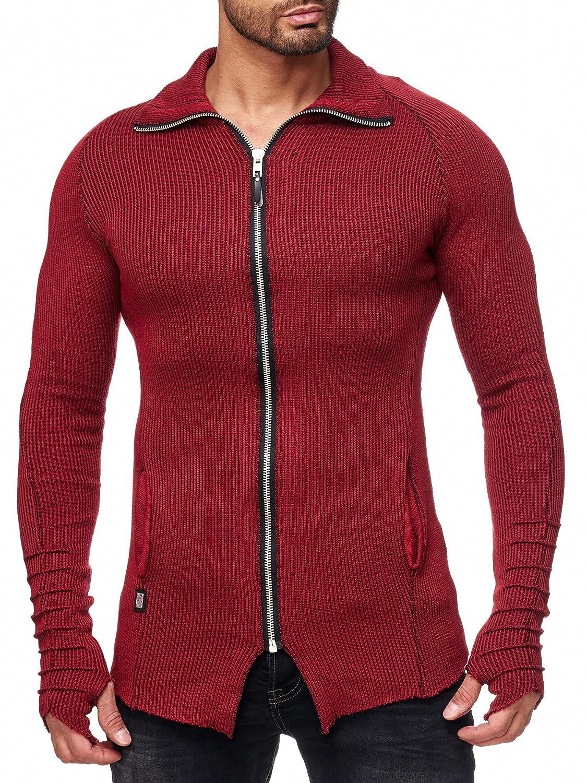 Red Bridge Herren Strickjacke Oversized Lang Geschnittene Jacke Zipper  Pullover hoher Kragen: Amazon.de: Bekleidung