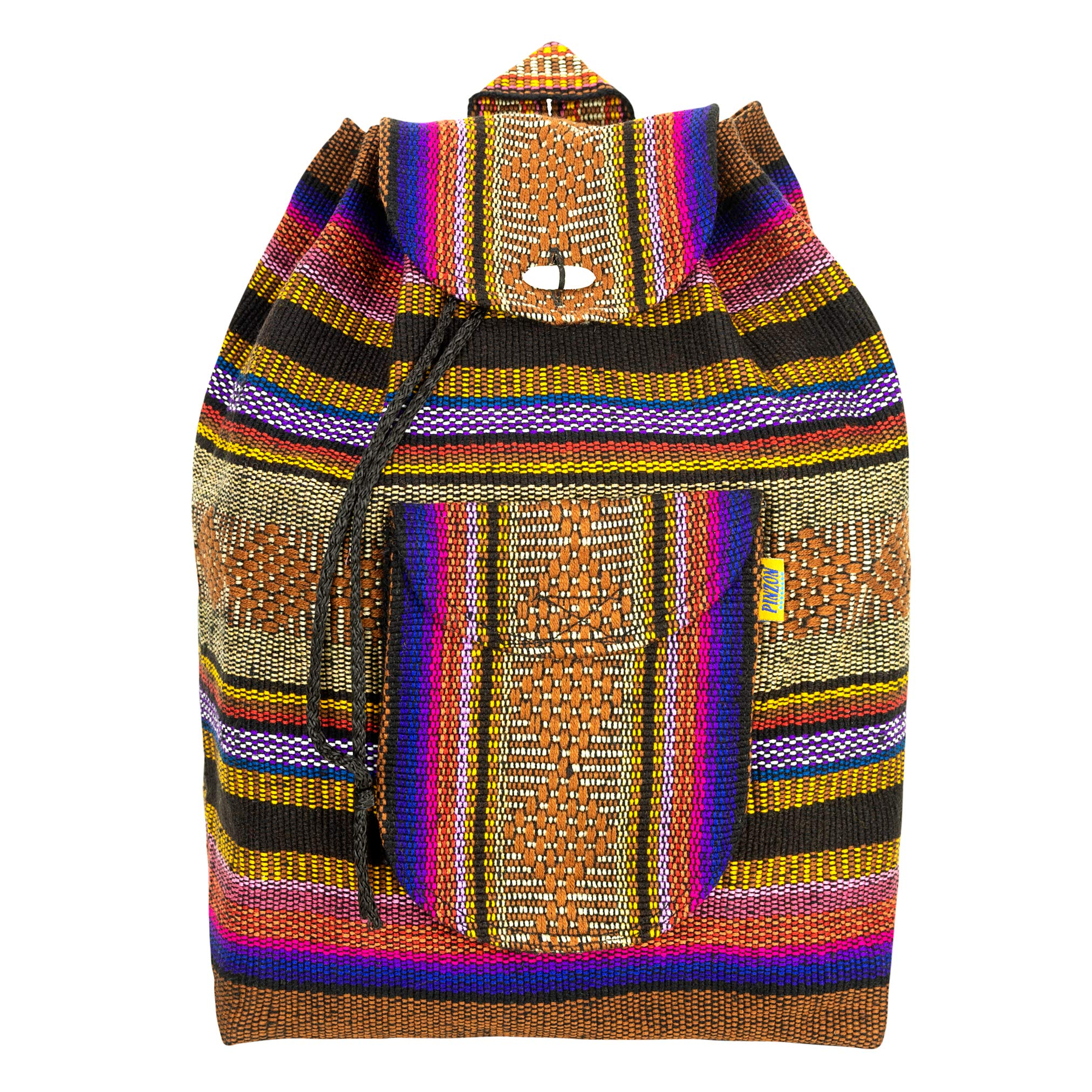 PINZON Large Unisex Hippie Backpack Aztec Schoolbag Foldable Rucksack Canvas Bag Casual Daypack Backpack for Beach – Unisex Bohemian Dufflebag College Gym Bag Handmade in Mexico (Brown Purple)