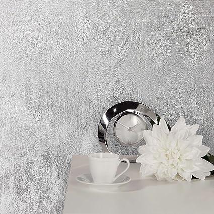 Crown Wallcoverings Alexis Texture Silver Wallpaper M1386 Vinyl