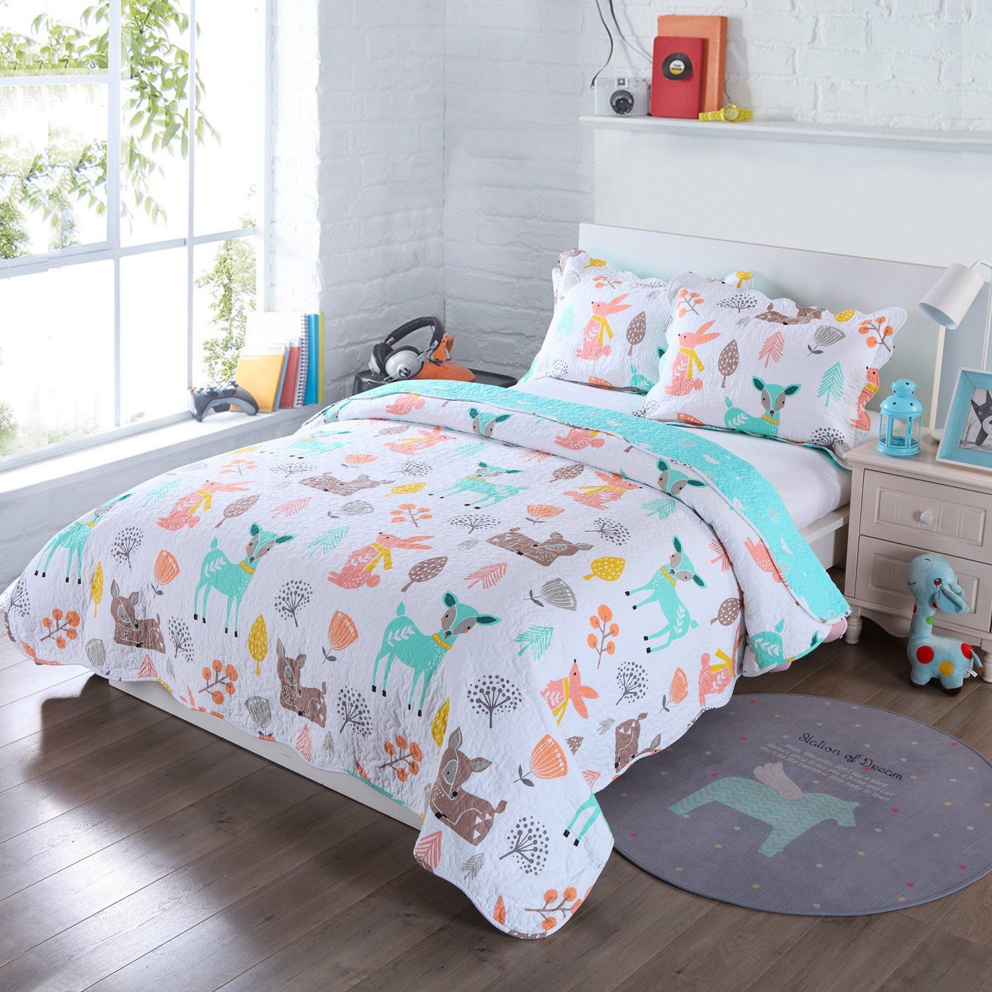 100% Cotton 3 Piece Kids Quilt Bedspread Comforter Set Throw Blanket for Teens Boys Girls Kids Beds Bedding Coverlet Teal Blue Forest Deer (Full)