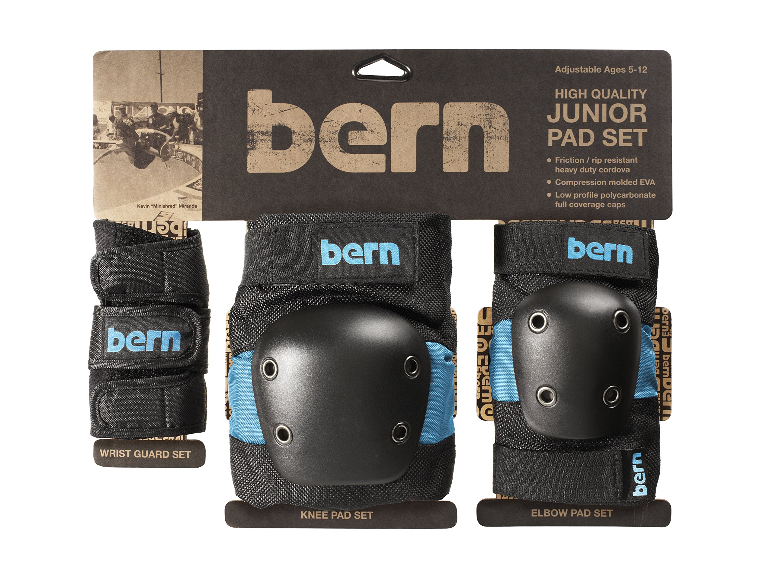 Bern Junior Knee Elbow Wrist Pad Set (Blue/Black, One Size)