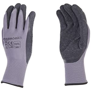 AmazonBasics Latex Coated Work Gloves, Nylon Liner Fiber, Grey, Size 10, XL, 12-Pair