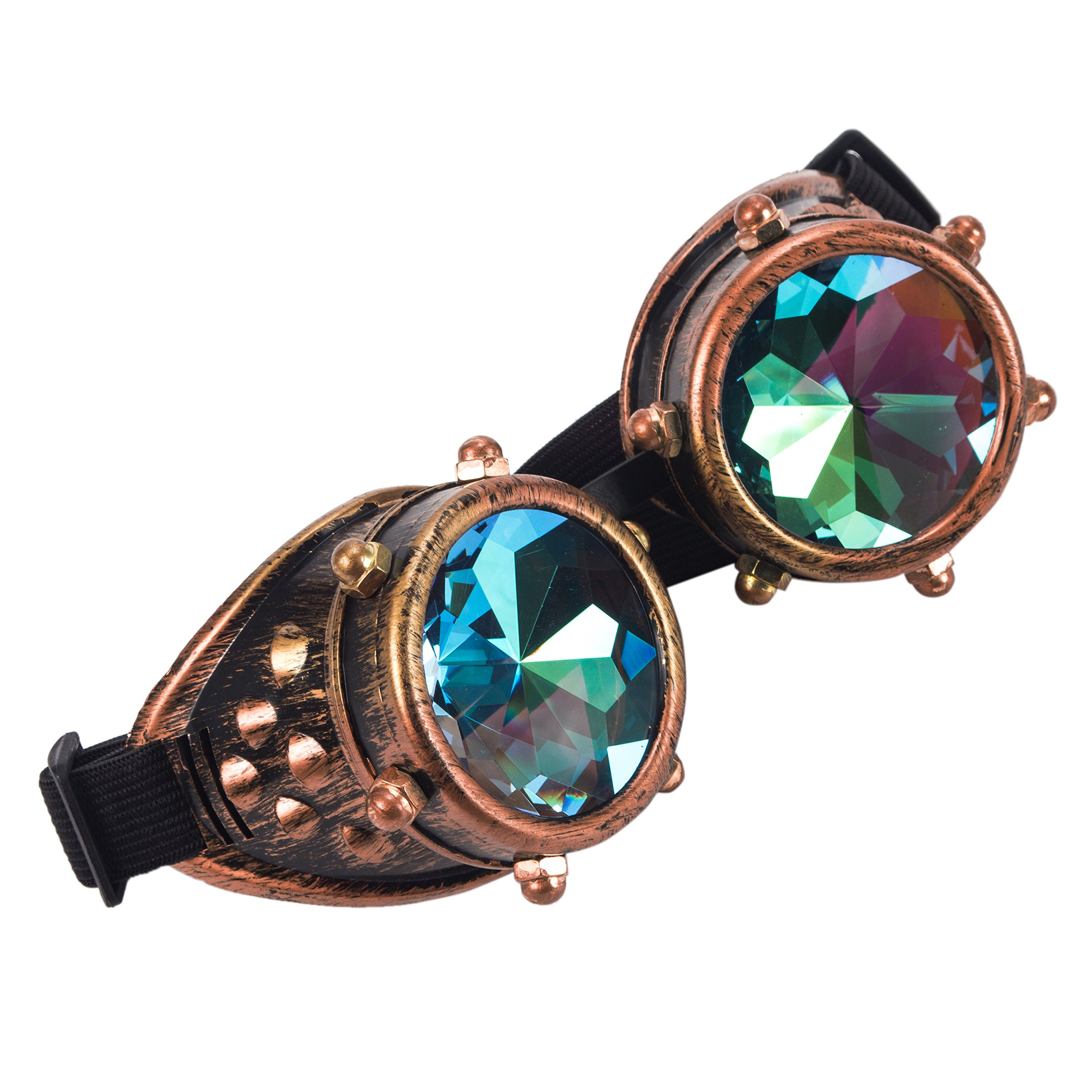 Kaleidoscope Rave Goggles Steampunk Glasses with Rainbow Crystal Glass Lens (One Size-Adjustable head band, Copper-New Style)