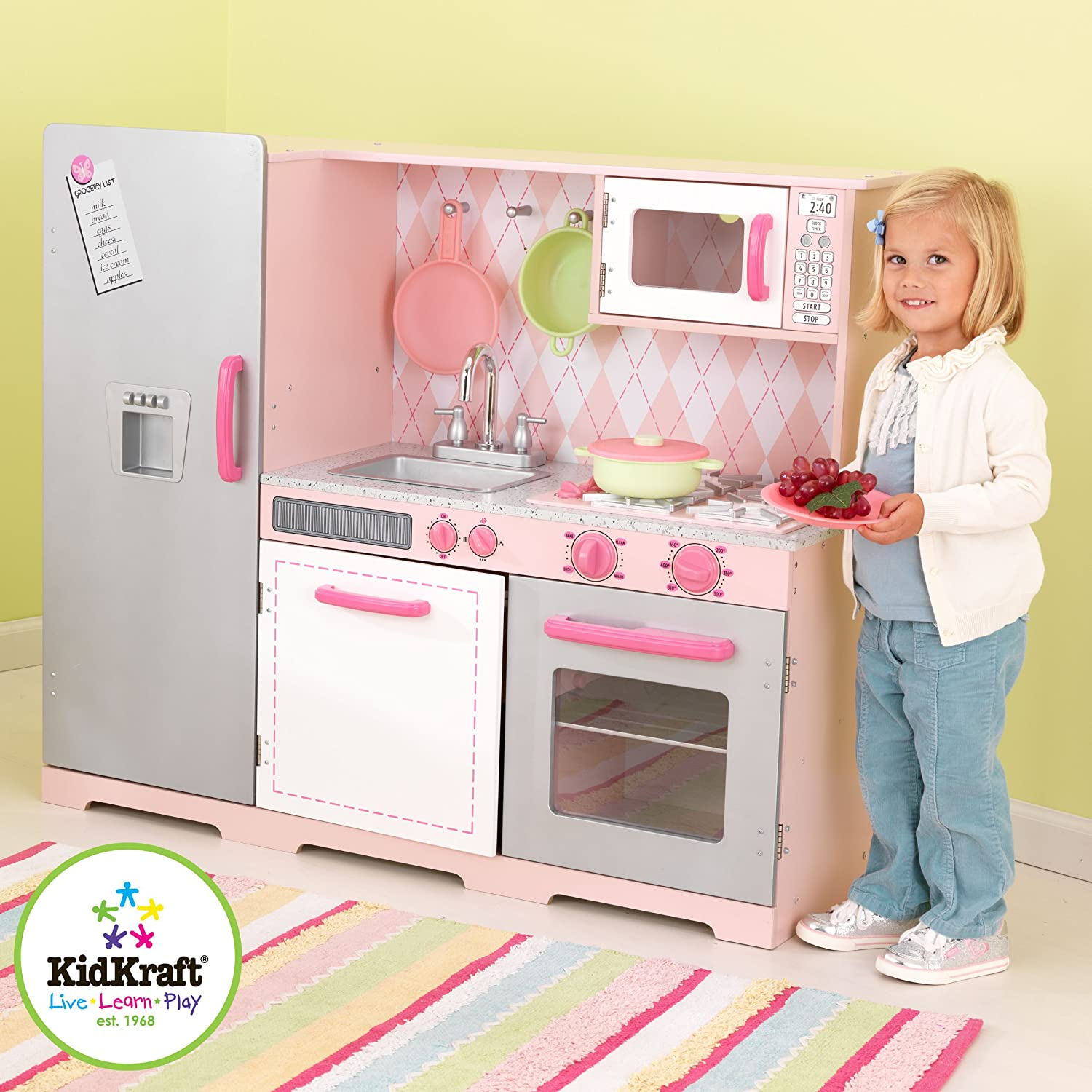 Amazon.com: KidKraft Pink Argyle Kitchen: Toys & Games
