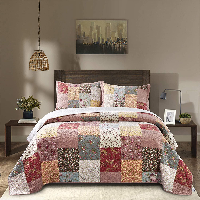 "Kasentex Luxury – Boho Quilt with Decorative Floral Print Patchwork Design, Cotton Soft Bedding, Full/Queen 90x96"", Boho-Royal Garden"