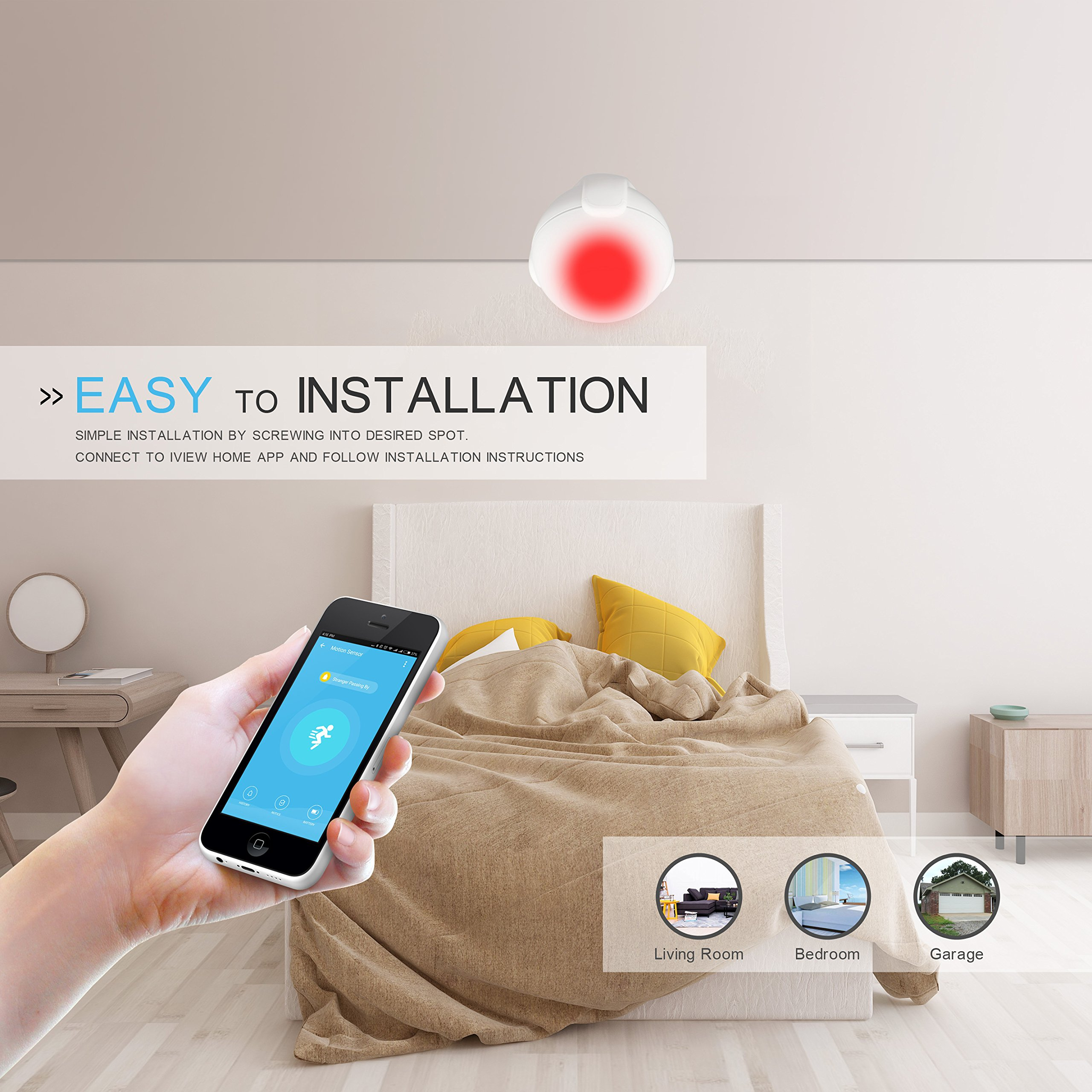 iView S200 WiFi Smart Motion Sensor Indoor Outdoor Adjustable Sensibility DIY Easy Installation Long Lasting Battery by IVIEW (Image #4)