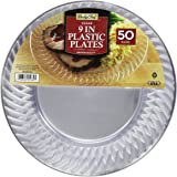Daily Chef Clear Plastic Plates, 9 Inch, 50 Count